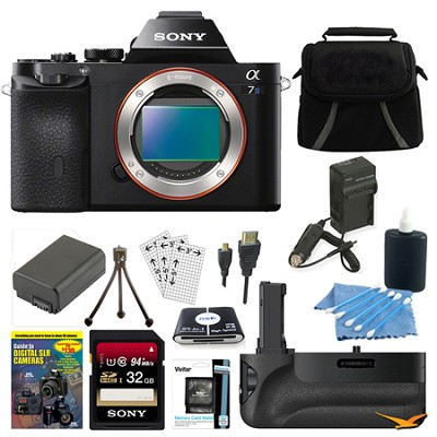 ILCE-7S/B a7S Full Frame Camera 32GB SDHC Card, Battery Grip Bundle
