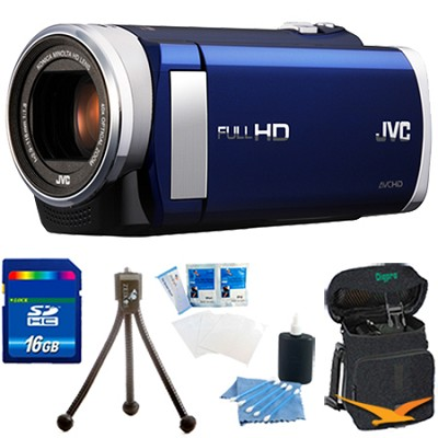 GZ-E200AUS HD Everio Camcorder f1.8 w/ 40x Zoom 3.0` Touchscreen (Blue) 16GB Kit
