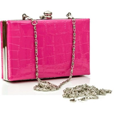 Shiny Exotic Croc Frame Clutch - Pink