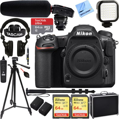 D500 20.9MP 4K CMOS DX Format DSLR Camera Body w/ Tascam Pro Video Bundle