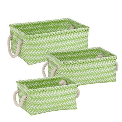 Zig Zag Basket Set of 3 Green