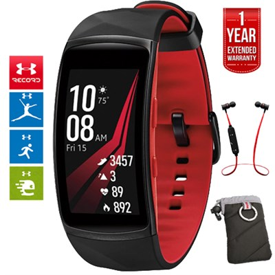 Gear Fit2 Pro Fitness Smartwatch Red Large +Headphone +Extended Warranty