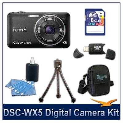 Cyber-shot DSC-WX5 Digital Camera (Black) 8GB Card, Case, and more