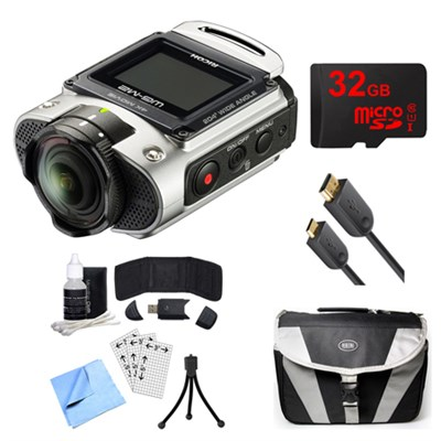 WG-M2 4K Action Silver Digital Camera, 32GB Card, Cable, and Accessory Bundle