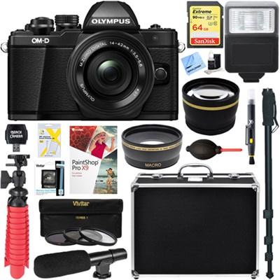 OM-D E-M10 Mark II Mirrorless Digital Camera (Black) + 14-42mm EZ Lens Bundle