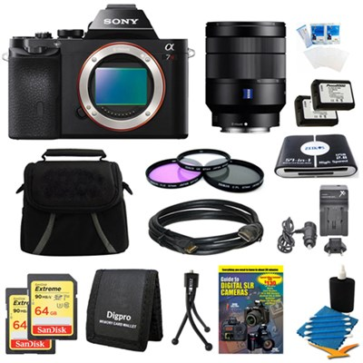 Alpha 7R a7R Digital Camera, 24-70mm Lens, 2 64GB SDXC Cards, 2 Batteries Bundle