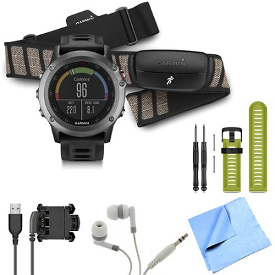 fenix 3 Multisport Training GPS Watch with Heart Rate Monitor Green Band Bundle