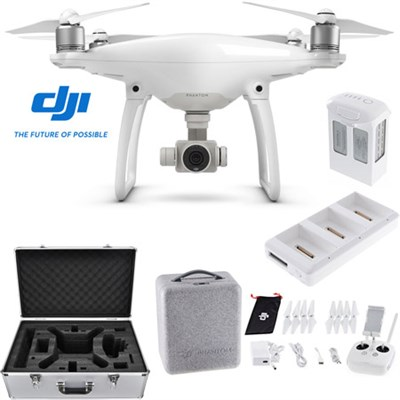 Phantom 4 Advanced Quadcopter Drone + Extra Battery Charging Hub and Custom Case