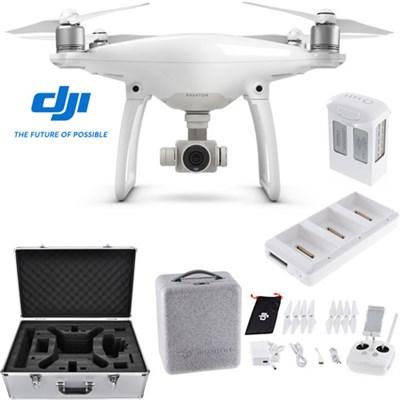 Phantom 4 Quadcopter Drone + Extra Battery Charging Hub and Custom Case