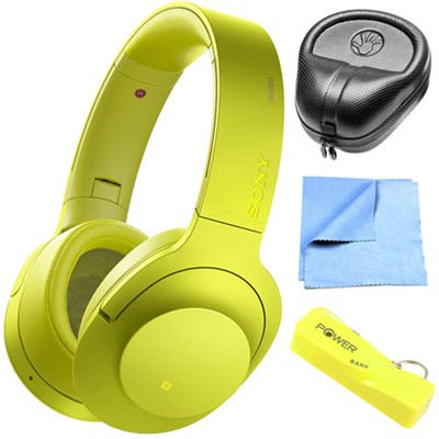 Wireless NC On-Ear Bluetooth Headphones w/ NFC Lime Yellow w/ Power Bank Bundle