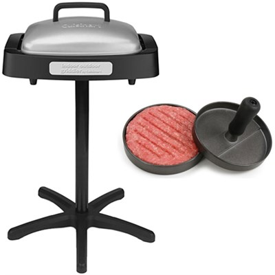 In-outdoor Grill w/Nonstick Grill & Griddle Plate + Burger Patty Maker