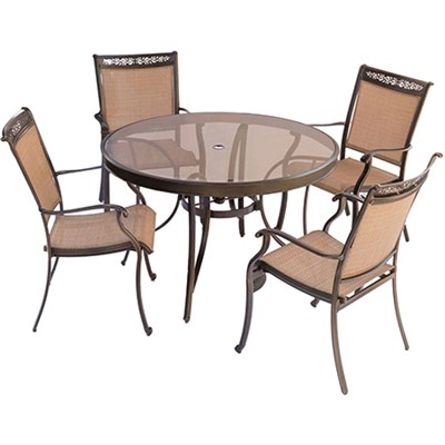 5pc Dining Set: 4 Sling Dining Chairs 48  Round Glass Top Table