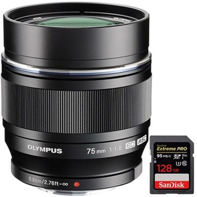 M.ZUIKO DIGITAL ED 75mm f1.8 (Black) Lens + SDXC 128GB Memory Card