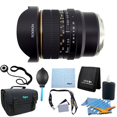 8mm f/3.5 Fisheye CS Lens for Sony E-mount (NEX & VG10) - Lens Kit Bundle
