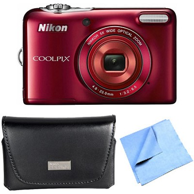 COOLPIX L30 20.1MP 5x Opt Zoom HD 720p Video - Red  Camera Refurbished