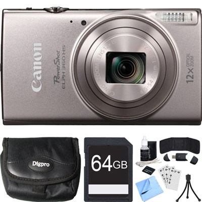 PowerShot ELPH 360 HS Silver Digital Camera w/ 12x Optical Zoom 64GB Card Bundle