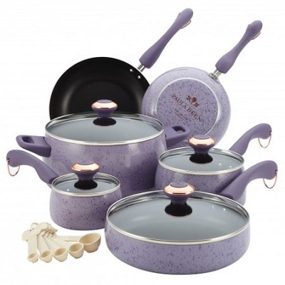 Signature Porcelain Nonstick 15-Piece Cookware Set - Lavender Speckle