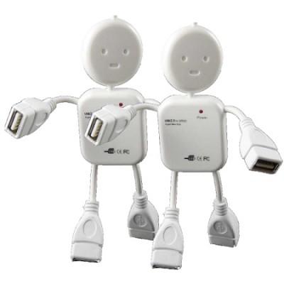 2 Pack: 4-Port Man Character Shaped USB Hub