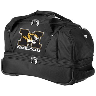 NCAA 22-Inch Drop Bottom Rolling Duffel Luggage, Black - Missouri Tigers