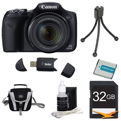 SX520 HS 16MP 42x Opt Zoom 1080p Full HD Digital Camera Bundle