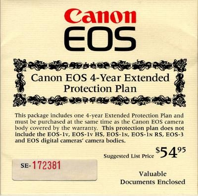USA Four Year Extended Warranty For Canon EOS camera
