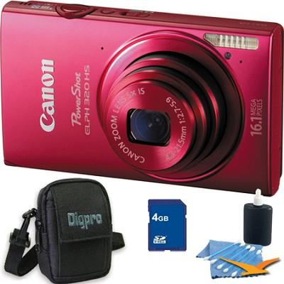 PowerShot ELPH 320 HS 16MP Red Digital Camera 4GB Bundle