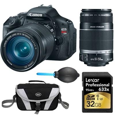EOS Digital Rebel T3i 18MP SLR Camera 18-135mm & 55-250mm Instant Rebate Bundle