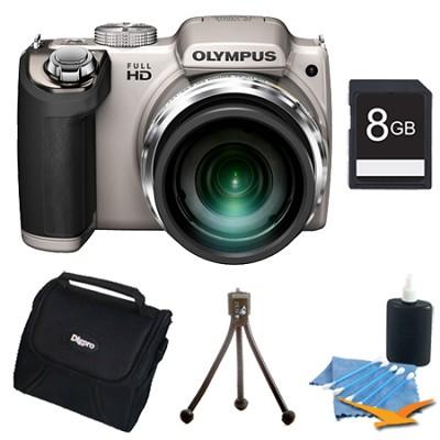 SP-720UZ 14MP 26x Opt Zoom 3-Inch LCD Digital Camera Silver Plus 8 GB Memory Kit
