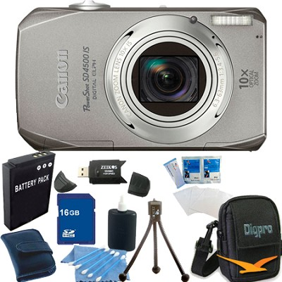 PowerShot SD4500 IS Silver Bundle w/ 16GB Memory, Reader, Case, Tripod, More