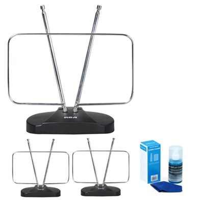 3-pack Durable HDTV & FM Antenna, Rabbit Ears Design - Energy Star Certified