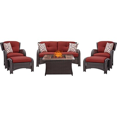 Montana 6-Piece Lounge Set in Crimson Red w/ Fire Pit Table - MON6PCFP-RED-WG