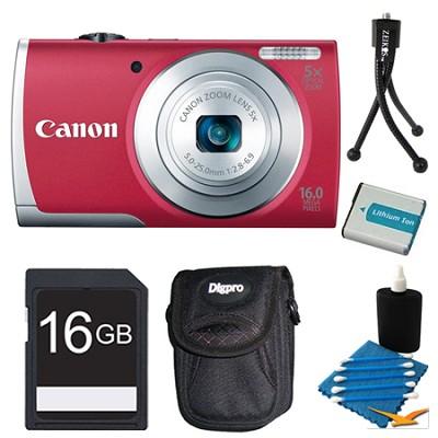 PowerShot A2600 Red 16MP Digital Camera 16GB Bundle