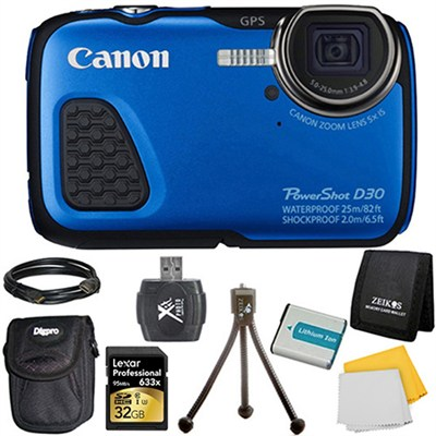 PowerShot D30 Waterproof Shockproof Freezeproof Blue Digital Camera Kit