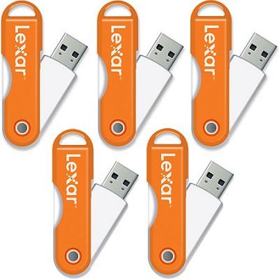 JumpDrive TwistTurn 16GB High Speed USB Flash Drive (Orange) 5-Pack (80GB Total)