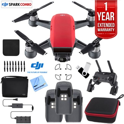 SPARK Fly More Drone Combo Lava Red - CP.PT.000901 Triple Battery Bundle