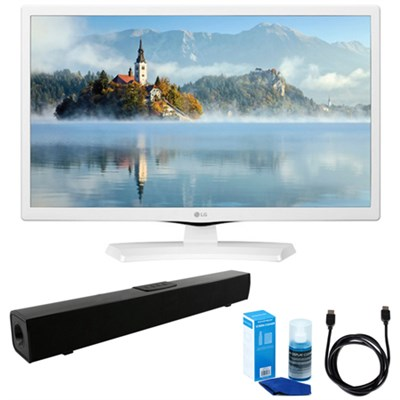 24-Inch HD LED TV - White (2017 Model) w/ Sound Bar Bundle