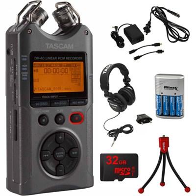 DR-40 Portable Digital Recorder Luminous Gray with 32GB Charging Bundle