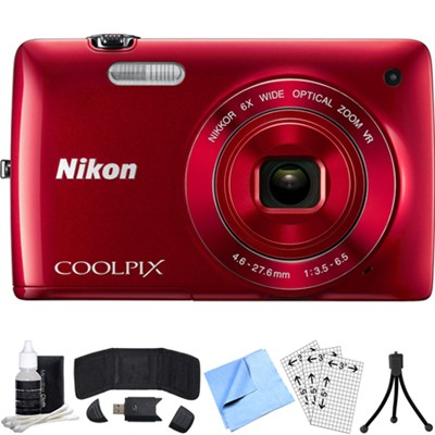 COOLPIX S4300 16MP Digital Camera w/ 3-inch Touchscreen (Red) Refurbished Bundle