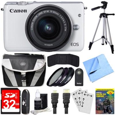 EOS M10 Mirrorless Camera White EF-M 15-45mm f/3.5-6.3 IS STM Lens 32GB Bundle