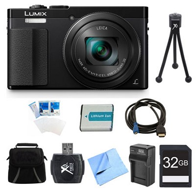 LUMIX ZS50 30X Travel Zoom Black Digital Camera 32GB Bundle