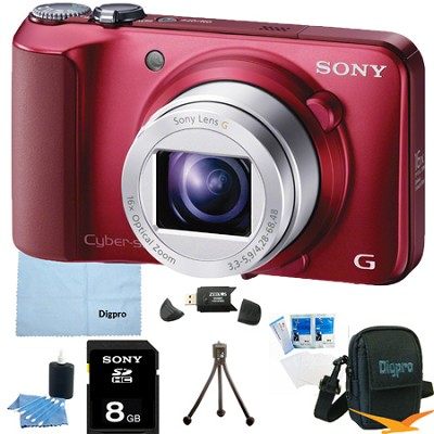 Cyber-shot DSC-H90 16.1 MP 16x Optical Zoom HD Video Camera (Red) 8GB Bundle