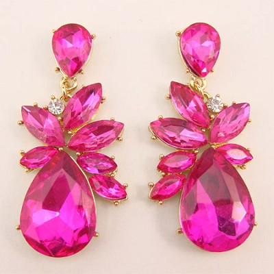 Tone Stone Earrings - Pink