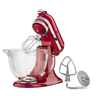 Artisan Series 5-Quart Stand Mixer in Candy Apple Red w/ Glass Bowl - KSM155GBCA