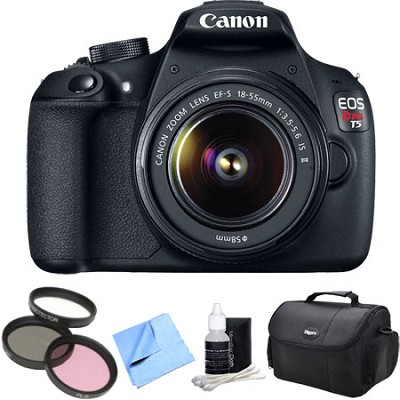 EOS Rebel T5 1200D 18MP DSLR Camera 18-55mm EF-S Lens Bag Filter 4pc Kit