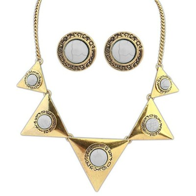 Gold Aztec Necklace and Earring Set with White Rhinstones