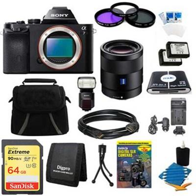 Alpha 7 a7 Digital Camera, 55mm Lens, 64gb Card, 2 Batteries, Flash Bundle