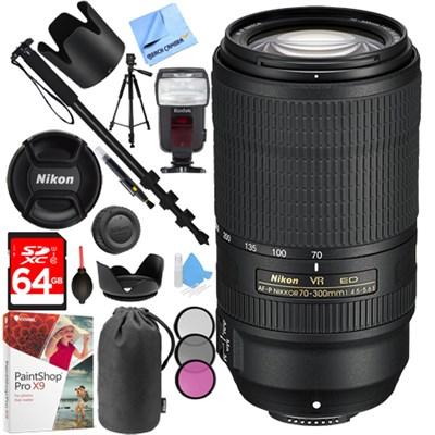 AF-P NIKKOR 70-300mm f/4.5-5.6E ED VR Fixed Zoom DSLR Lens (Black) Bundle