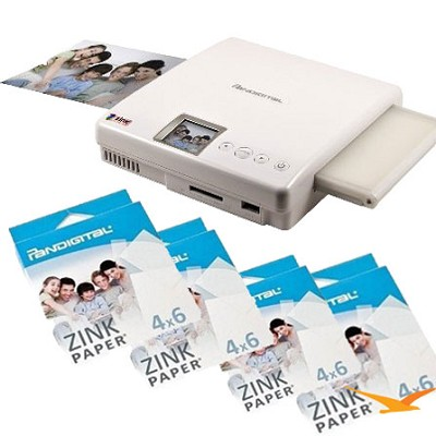 Zero Ink PANPRINT01 Portable Photo Color Printer with 45 sheets of Zink Paper