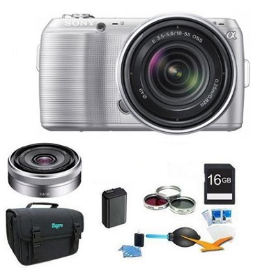 Alpha NEX-C3 Silver Digital SLR w/ 18-55mm, 16mm f2.8 Lens