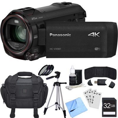 HC-VX981K 4K Ultra HD Camcorder w/ Wi-Fi + Twin Camera (Black) 32GB Card Bundle